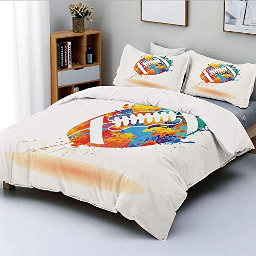 Jojun Duvet Cover Set,Rugby Ball with Rainbow Brush Effects Filled Covered with Colors Sports Sign LeisureDecorative 3 Piece Bedding Set with 2 Pillow Sham,Multicolor,Best Gift For K Easy Ca