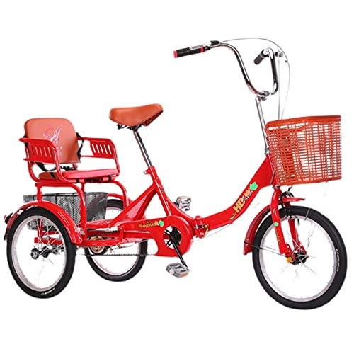 zyy Dreirad für Erwachsene 3-Rad Fahrrad Zusammenklappbar 20 Zoll 1 Geschwindigkeit Verstellbar für Outdoor-Sportarten Einkaufen Eltern Oder Freunde Lastenfahrrad Senioren Shopping Bike (Color : Red)
