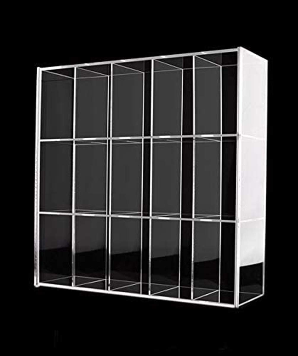 """Clear Mounted Acrylic Display Case Organizer Storage Box - 15 Compartments - Sliding Door Dustproof Protection Showcase for Collectibles Mini Figure Action Toys Rock Stone, 11"""" x 2 19/20"""" x 10 1/2"""")"""