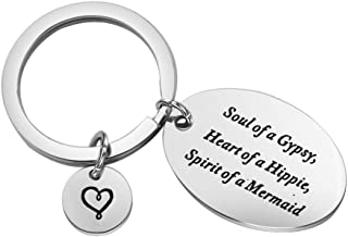 MYOSPARK Gift for Best Friends Soul of A Gypsy Keychain Sister Jewelry Hippie Keychian Mermaid Keychain