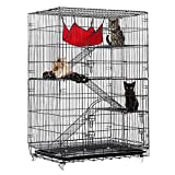 Tooca 4-Tier Cat Cage Cat Kennel Black Wire Cat Condo Cat House Furniture Pet Enclosure with Ramp Ladders, Resting Platforms Beds Tray Hammock Cage for Cats.
