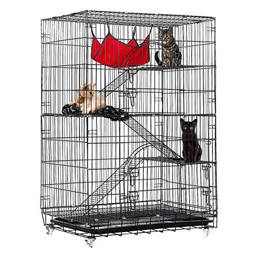 Tooca 4-Tier Cat Cage Cat Kennel Black Wire Cat Condo Cat House Furniture Pet Enclosure with Ramp...