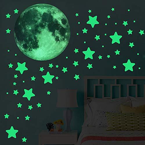 Luminoso Pegatinas de Pared 298 Estrellas Fluorescente 154 Pequeños Cuadrados Brillantes y 20 cm de Diámetro Luna Luminosa Para Regalos de Cumpleaños Infantiles Decoración de Paredes y Techos