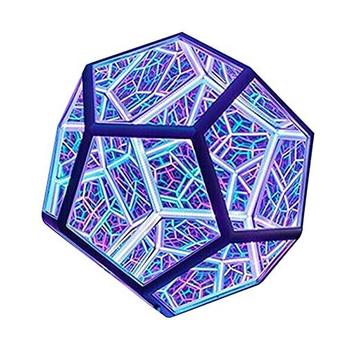 ALMAK DIY luces geométricas coloridas del arte, luz infinita del arte del color del Dodecaedro, lámpara de carga USB, utilizado en el dormitorio, sala de estar decoración de escritorio