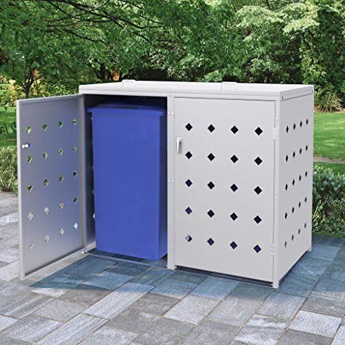 Canditree Stainless Steel Horizontal Storage Shed for Outdoor Trash Cans, Yard Tools, Weather Resistant