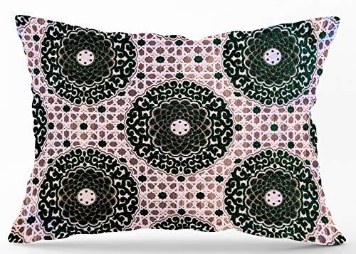 Funda de cojín de seda jacquard con textura en color gris plateado y terciopelo con diseño geométrico, diseño de baldosas, 70 x 50 cm, color verde