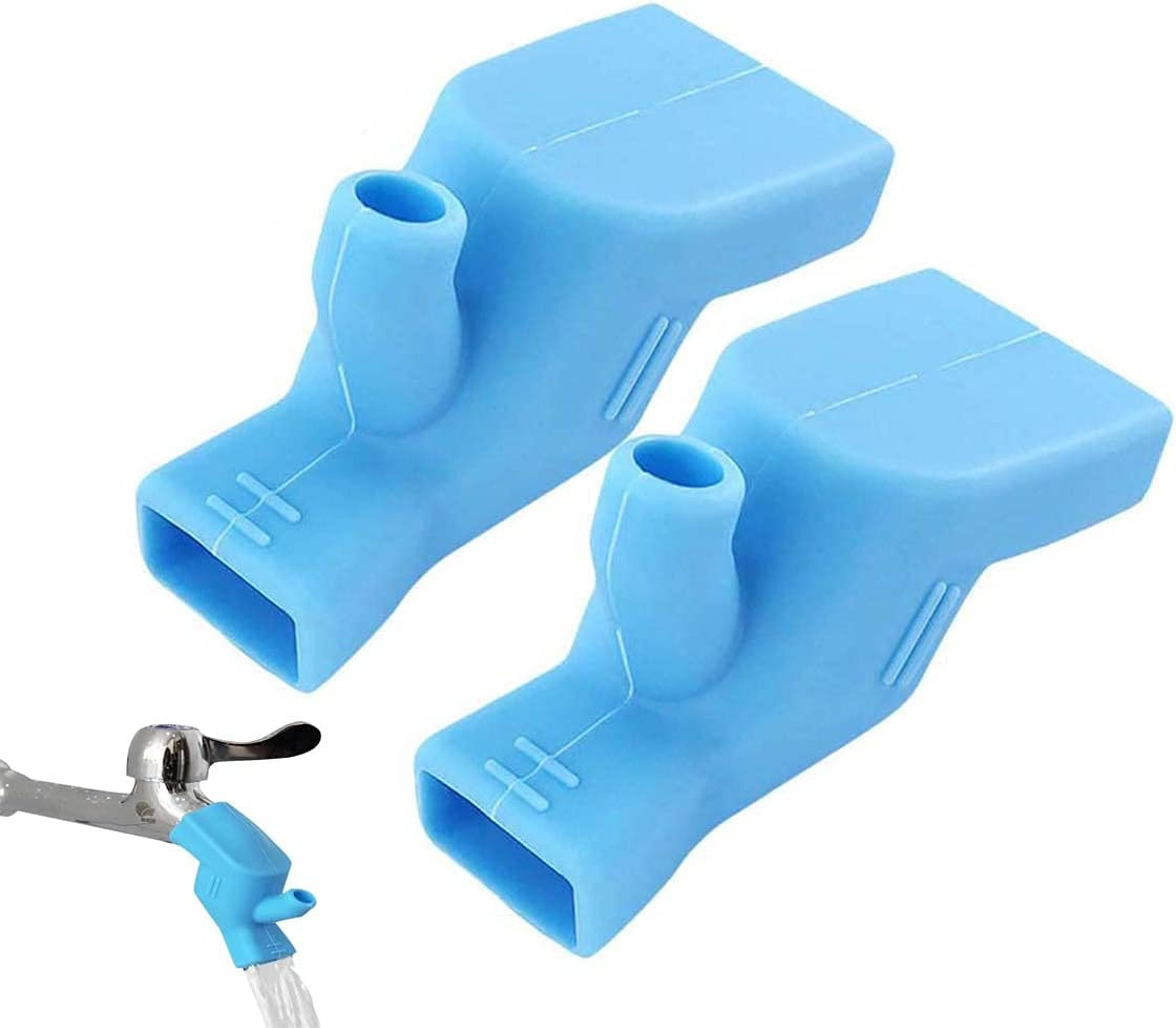 Silicone Faucet Extender,2pcs Faucet Connector Kitchen Water Tap Extension,Tooth Brushing Gargle Hand Washing Extender Bathroom Kitchen Sink Faucet Silicone Extender Accessories(Blue)