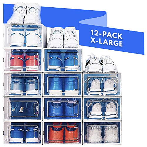 NEATLY Shoe Organizer Shoe Rack  Stylish Clear Plastic Stackable Shoe Boxes for Closet Organizers and Shoe Storage - Sneaker Boot Toy Closet Storage Bins Organizing Containers
