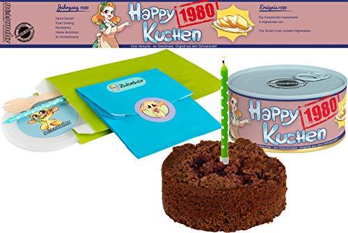 Happy Kuchen | Kuchen in der Dose | Personalisiert mit Wunsch- Geburtsjahr, Namen und Geschmack | Geburtstagsgeschenk | Geschenk | Geschenkidee (Schoko-Kirsch, Geburtsjahr 1980)