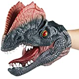 Gemini&Genius Dilophosaurus Dinosaur Hand Puppets Large Soft Rubber Realistic Funny & Scared Dino Head Hand Puppets T Rex Toys Home, Stage and Class Role Play Toy for Kids and Toddlers