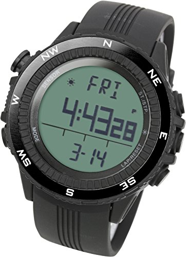Price comparison product image Lad Weather Altimeter Watch Barometer Digital Compass Thermometer Weather Monitor Climbing Trekking Camping Hiking Outdoor (Black / Grey)