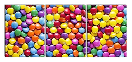 zoet suikergoedXXL canvasbeeld 3 deel | 180x80cm volledige maatregel | Wanddecoraties | Kunstdruk