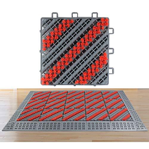 -tapijten voetmat buiten zwaar hotel, winkelcentrum ingangsmatten met penseel Stitching stof antislip wasbaar (color: Gray-(red borstels*3), size: 90 * 60cm)