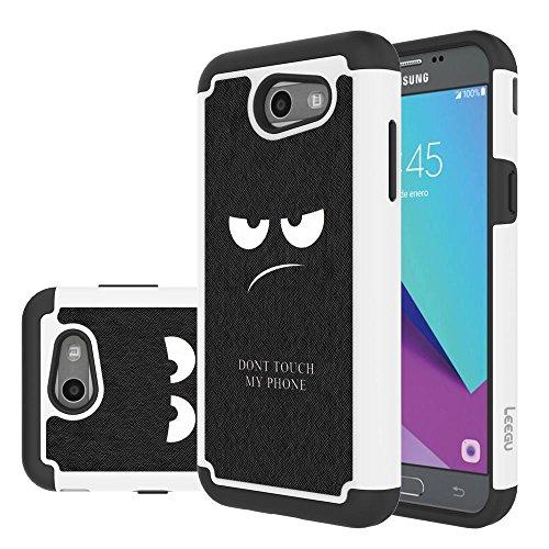 LEEGU Case for Samsung Galaxy J3 Emerge / J3 Prime / J3 2017 / J3 Mission / J3 Luna Pro / J3 Eclipse/Express Prime 2 / Amp Prime 2 / Sol 2 Case, Dual Layer Protective Case - Dont Touch My Phone