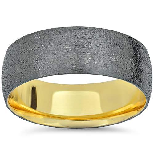 Mens 14k Black & Yellow Gold Two Tone Brushed Wedding Band - Size 11