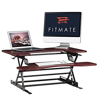 "Fitmate 36"" Height Adjustable Work Standing Desk Converter Fits Two Monitors, Sit / Stand up Desk Elevating Desktop"