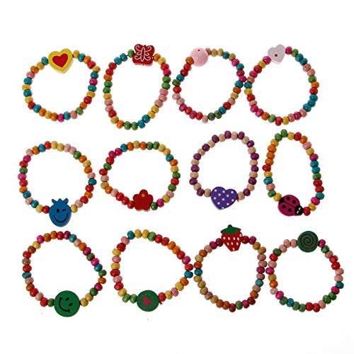 chaoxiner 12 unids coloridas pulseras de madera bebé niñas pulseras kit niños joyería de moda
