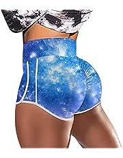 CXDS Vrouwen gerimpelde tie-dye zakken stretch running fitness yoga broek biker shorts running elastische sport tillen stretch panty