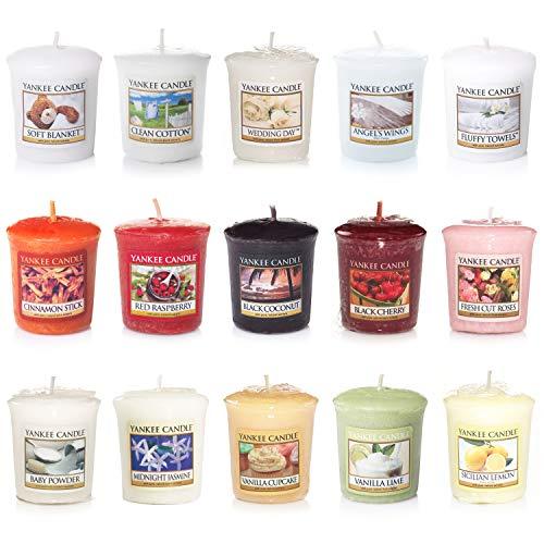 Kostengünstiges Yankee Candle Kerzenset mit 15 duftenden Votivkerzen, verschiedene Düfte