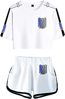 EMLAI AOT Underwear Sets Anime Manga Survey Corps Print Attack on Titan T-Shirt and Shorts Suitable for Women Girl Youth C...
