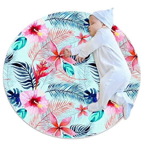 Alfombra decorativa sala de estar redonda alfombra niña alfombra de yoga lavable sala de estar alfombra tropical, hojas verdes rosas flores