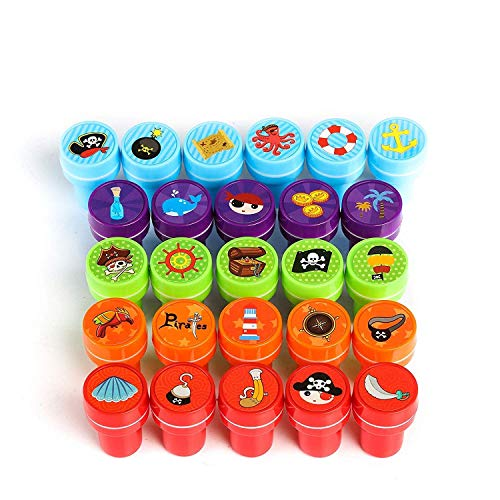 Kesote Stempelset Piraten, 26 Stück Kinder Selbstfärbend Stempel für Spiel Spaß Hobby, Bunt