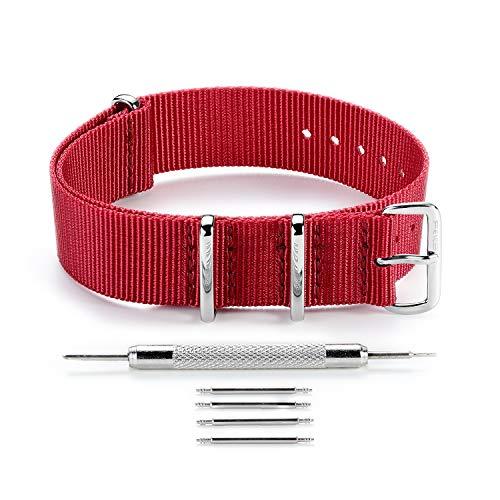 FEICE Unisex Nylon Uhrenarmband Ballistic Nylon Uhrenarmband (Rot)
