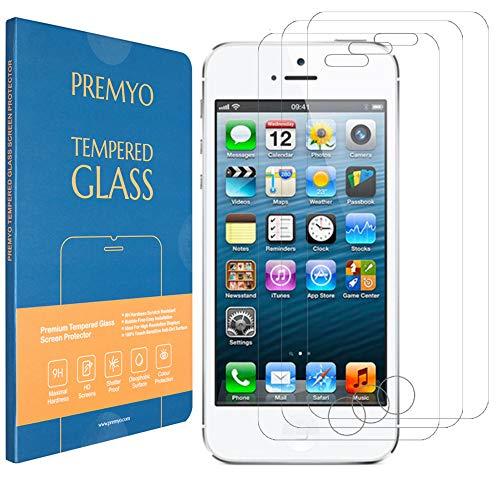 PREMYO 3 Stück Panzerglas Schutzfolie kompatibel mit iPhone SE / 5s - Blasenfrei Transparent Anti-Kratzer 9H Festigkeit