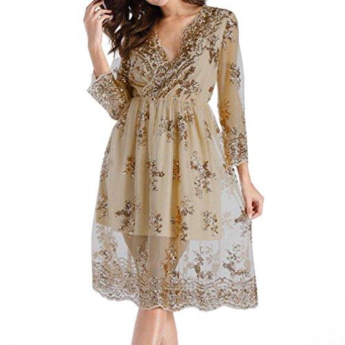 TWIFER Mode Damen Abendkleider Doppelschicht Langarm Kleid Pailletten Glittery Tief-V Kragen Knielänge Cocktailkleid (M, Beige)