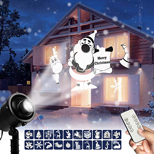 Christmas LED Projector Lights Outdoor 3D Rotating Projection Light with Christmas Trees Santa Claus...