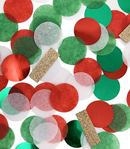 TECCA Confetti - Premium Quality Christmas Holiday Confetti Gold Glitter Accents - Specially Crafted for Christmas, Thanksgiving, Weddings, New Years, Birthdays, Arts & Crafts, Packaging