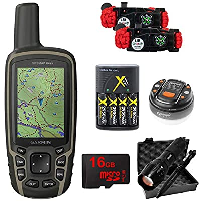 Garmin GPSMAP 64sx Handheld GPS with 16GB Camping & Hiking Bundle - (010-02258-10)