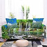 Funda para Sofas Funda Sofa Chaise Longue Izquierdo Paisaje de Bosque de Bambú Verde Fundas de Sofa Elasticas Fundas para Sofá Ajustables Estampada Cubre Sofa con 1 Funda de Cojín