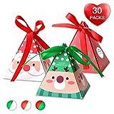 Erosion Weihnachtssüßigkeitskästen, 30 Stück mit 3 Mustern (Weihnachtsmann/Rentier / Weihnachten) 3Dwith Small Label und Geschenkkordel , Süße Dose für Schokolade, Leckereien...