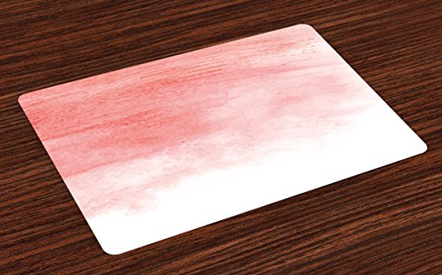 Ambesonne Peach Place Mats Set of 4, Hand Drawn Watercolor Style with Brush Strokes with Ombre Effect Print, Washable Fabric Placemats for Dining Room Kitchen Table Decor, White Coral