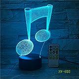 Nota musical LED música Lámpara 3D Luz nocturna,Acrílico Colorido Gradiente Ambiente Lámpara Luminaria Regalo Decoración del hogar para niños