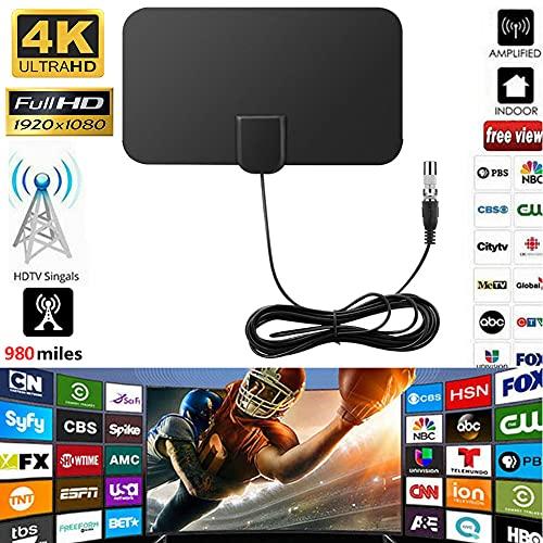 Antena de TV para Interiores, DYBITTS Antena de HDTV Digital Rango de 980 Mlies con Amplificador Amplificador señal 4K 1080P HD VHF UHF para Canales Locales Todos los Tipos