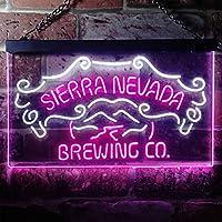 Sierra Nevada Beer LED看板 ネオンサイン バーライト 電飾 ビールバー 広告用標識 白色 + 紫色 W60cm x H40cm
