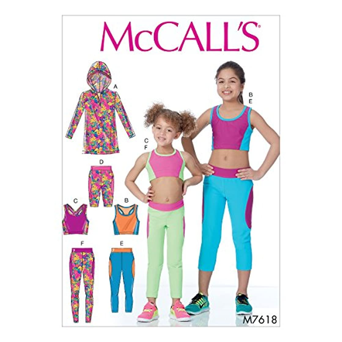 McCall's Patterns M7618CCE Children's/Girls' Activewear Tops and Leggings Sewing Pattern, CCE (3-4-5-6)