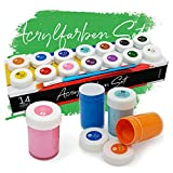 int!rend Acryl Farben Set Künstlerfarben mit Pinsel 14 Acrylfarben x 18 ml für Kinder & Erwachsene, wasserfest für Leinwand, Holz, Ton, Papier