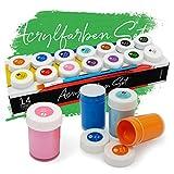int!rend Acryl Farben Set Knstlerfarben mit Pinsel 14 Acrylfarben x 18 ml fr Kinder & Erwachsene, wasserfest fr Leinwand, Holz, Ton, Papier