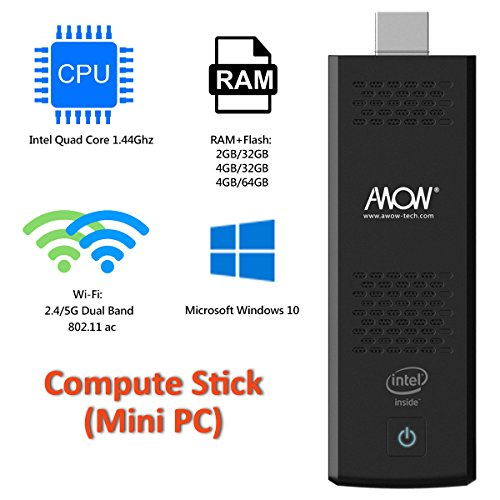 AWOW Windows 10 (64bit) Mini PC Stick 4GB RAM+32GB ROM Compute Stick with Extra Quiet Fan Intel Atom X5 Z8350/Dual WiFi 2.4G+5G/HDMI/Bluetooth 4.0/USB 3.0/Micro SD-[MP18-SC432]