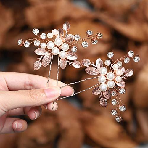 Zoestar Braut Hochzeit Haarnadeln Rose Gold Kristall Kopfschmuck Perle Haarspangen Braut Blatt Haarschmuck für Frauen und Mädchen (2 Stück)