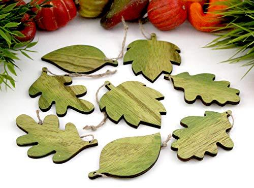 Nostalgic Garten 8 x Anhänger Set Blätter Laub Herbstblätter Deko Natur Holz (H - Blätter)