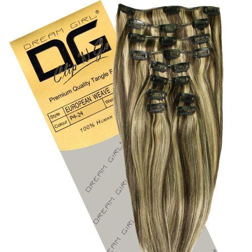 Dream Girl Extensions de cheveux à clipser Couleur 4/24 35 cm