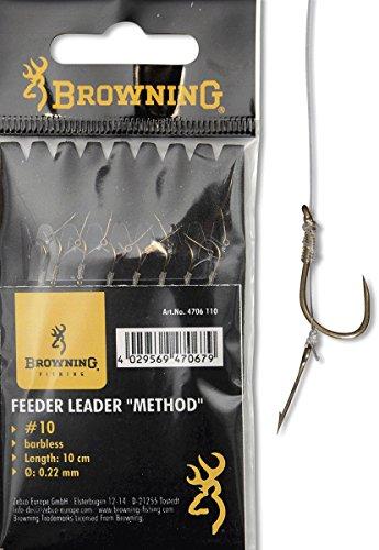 Browning Bronze 10 Feeder Method Vorfachhaken mit Boilie-Nadel 10lbs,4,5kg Ø0,22mm 10cm 8Stück