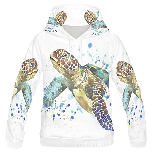 INTERESTPRINT Custom Watercolor Wildlife Animal Sea Turtle Teenager's Pullover Hoodies Sweatshirt M