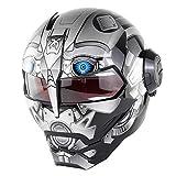 Casco Da Motociclista, Casco Da Moto Crash Modular Casco Da Motociclista Omologato Full Face ECE Con Parasole Per Uomo Adulto Casco Moto Da Motociclista Anteriore Flip Up,Brightgrayrobot-M:(55-56cm)