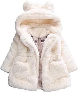 Girls Winter Warm Coats Ear Hooded Faux Fur Fleece Jacket