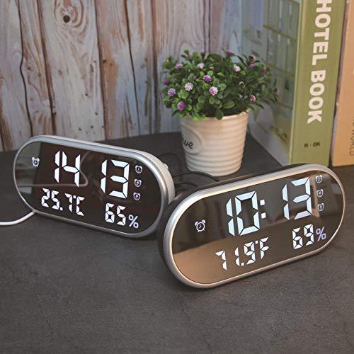 LKIJ Thermo-Hygrometer, LED-Spiegel, Wecker, Thermometer, Hygrometer, Kinder, Studenten, Stummschaltung, Dual-USB zum Aufladen